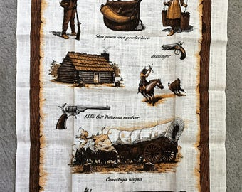Linen Wall Hanging or Towel of a Billings Montana History.
