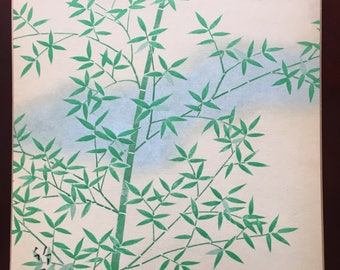 Japanese Shikishi Young Bamboo art.