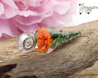 Orange flower - pendant Beads lampwork artisan implosion transparent blue - Charm with a large hole - 925 silver core