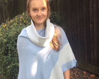 Knitted Cape Coat for Girls , Cashmere Wool  ponchos for teens  with matching scarf or headwrap, unique gift for daughter