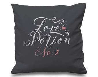 LOVE POTION No.9 Cotton Cushion Cover - Valentines Gift - Gift for Her
