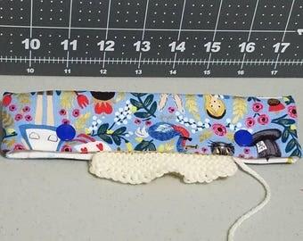 Alice in Wonderland DPN holder, knitting needle case, DPN case, double pointed needle holder, knitting needle cozy, DPN holder