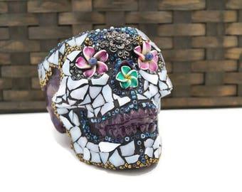 Mexican Sugar Skull, Planter, Ceramic Skull, Purple Pirate Skull, Day of the Dead, Skull Candy Bowl, Stained Glass Skull, Mosaic Skull, Art
