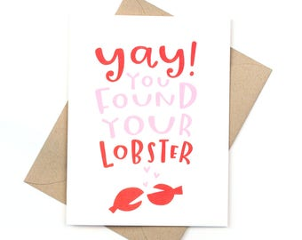 cute engagement card - wedding card card - found your lobster