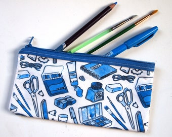 blue stationery pencil case | zip pouch