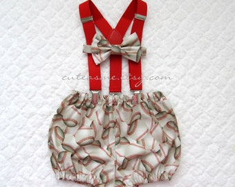 Cake Smash Outfit Boy Girl 1, 2, or 3 piece Baseball Diaper Cover Bow Tie Suspenders First Birthday 1st Birthday Sports Ball Photoshoot1