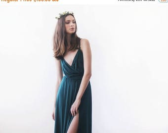 25% OFF Green forest straps wrap dress, Emerald bridesmaids dress with a slit 1060