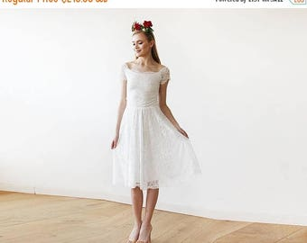 25% OFF Ivory Off-The-Shoulder Short Sleeves Lace Midi Dress 1158