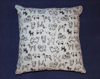 "Cushion cover, black on grey dog print 45cm X 45cm (approx 18"" X 18"") 100% cotton  hand made"