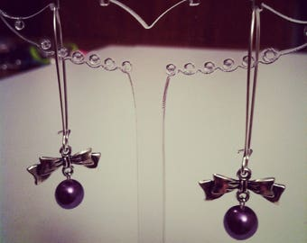 Earrings bows large silvery mauve clasps