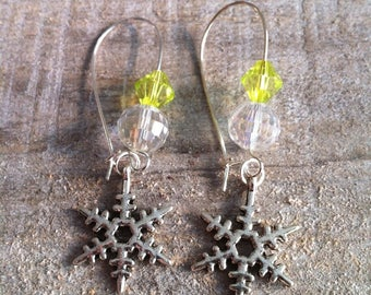 Snowflakes earrings large lime green silver fasteners