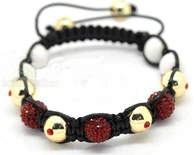 Adjustable Shamballa Crystal bracelet gold plated Topaz and Red rhinestones