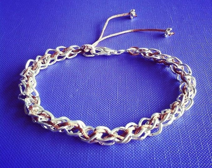 Silver plated chain with Brown cord bracelet