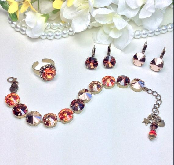 Swarovski Crystal 12MM Bracelet & Earrings  Tangerine, Chocolate Brown, Rose Gold, Designer Inspired  - Hot New Neutrals!  - FREE SHIPPING