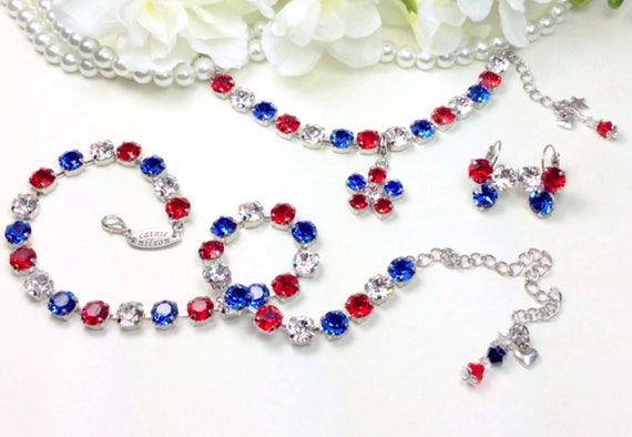"""Swarovski Crystal 8.5mm Necklace, Bracelet, and Earrings - """"Glory Days""""  Beautiful  Red, Clear, & Blue - FREE SHIPPING"""