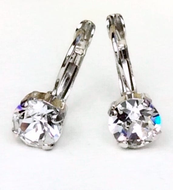Swarovski Crystal 8.5mm Lever- Back Drop Earrings - Classy - Clear Crystal - OR Choose Your Favorite Color and Finish -  FREE SHIPPING