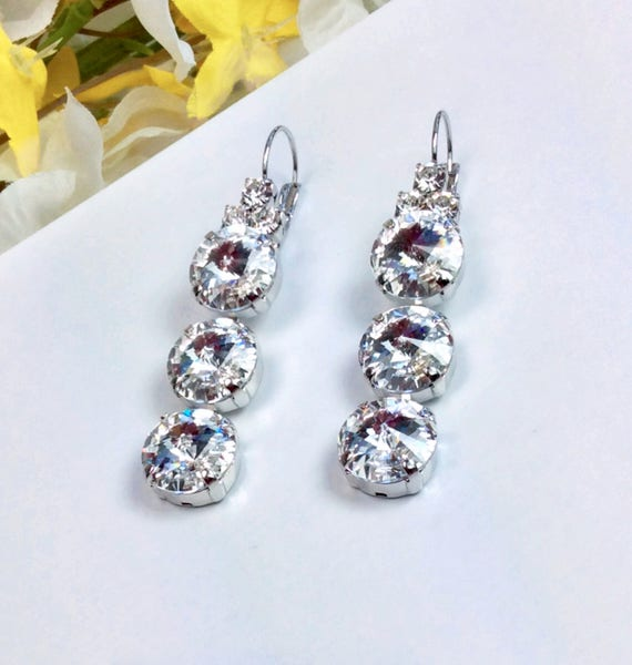Swarovski Crystal 12MM Triple Drop Dead Earrings- Choose Your Favorite Color & Finish - DRAMATIC Sophistication! - FREE SHIPPING
