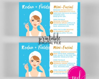 Rodan and Fields Mini Facial Cards, Instant Download, Rodan and Fields Facial Business card