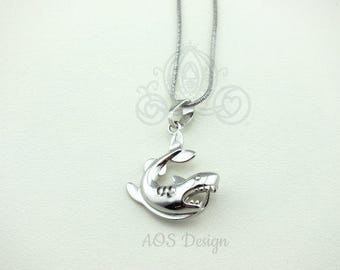 """Pick A Pearl Cage Necklace Silver Shark Jaws Sharknado Charm Gem Bead Cage 18"""" Necklace"""