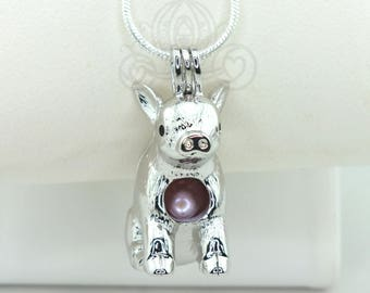 Teacup Pig Pearl Cage Necklace Piglet Baby Pig Silver Plated Locket Charm Pua Bead Cage