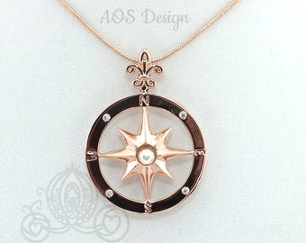 Pick A Pearl Compass Rose Cage Rose Gold Plated Locket Charm Necklace Pirate Ship Sailing Ocean Nautical Compass Charm
