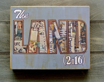 """CLEVELAND SPORTS """"The Land of Champions 2016"""" UFC, Lake Erie Monsters, Cavs & Indians - 8x10 Handmade Wood Print"""