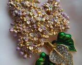 Vintage large lilac flower rhinestone brooch