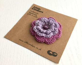 Purple Flower Brooch Pin Handmade Violet Lilac Mauve Pink Floral Brooch Round Layered Button Brooch / Small Gift for Women