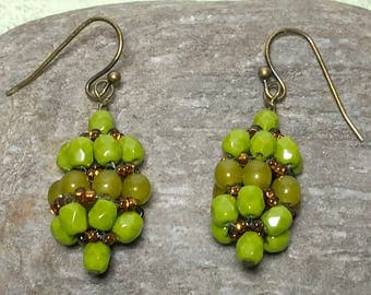 Green Brown Earrings Green Bead Dangles Beadwork Earrings Green Bead Earrings Green Drop Earrings Seed Bead Earrings Beadwoven Earrings