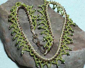 Chartruse Necklace Green Beaded Collar Beaded Lace Collar Beadwork Necklace Green Bead Necklace Bead Choker Necklace Seed Bead Necklace