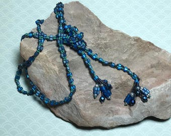 Blue Beaded Lariat Bead Wrap Necklace Blue Lariat Necklace Bead Lariat Necklace Beaded Rope Necklace Beadwork Necklace Seed Bead Necklace