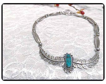 On Reserve for 523kayla -Southwestern Feather Choker Necklace - Native American Indian - Turquoise - Sterling Beads -  Neck-3999d-061417075