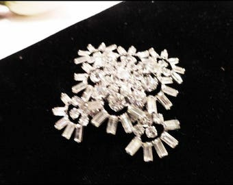 Sparkling Byer Brothers Rhinestone Brooch - Chatons and Navette Rhinestones By  Byer Bros  Pin-7113a-071817015