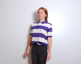 80s medium Le Tiger purple white striped collared top shirt mans polo short sleeve mens vintage clothing