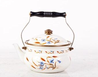 Vintage Enamel Kettle / Enamel Teapot / Vintage Tea Kettle Coffee Kettle / Vintage Enamelware / Whistling Tea Kettle