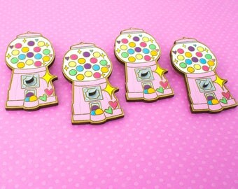 laser cut / hand painted wooden brooch - vintage gumball machine (PINK)