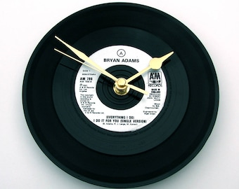 """BRYAN ADAMS Vinyl Record CLOCK """"Everything I Do""""  A recycled 7"""" vinyl record Gift for men women our song wedding song black silver"""