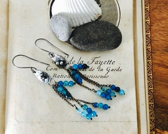Mermaid Tears ~ Blue Agate Sterling Silver Earrings