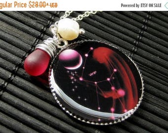 SUMMER SALE Virgo Necklace. Sun Sign Zodiac Jewelry with Clouded Red Teardrop and Fresh Water Pearl. Handmade Jewelry.