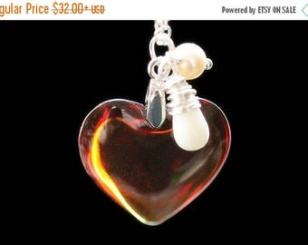 BACK to SCHOOL SALE Amber Heart Necklace in Silver. Golden Amber Heart Necklace with Wire Wrapped Teardrop and Pearl. Glass Heart Pendant. H