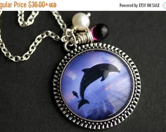 BACK to SCHOOL SALE Dolphin Necklace. Jumping Dolphin Pendant with Fresh Water Pearl and Purple Teardrop. Purple Necklace. Blue Necklace. Ha