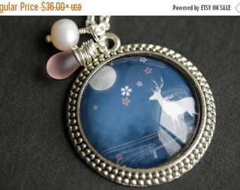 BACK to SCHOOL SALE Blue Moon Deer Necklace. Night Sky Deer Pendant with Fresh Water Pearl Charm and Frosted Pink Teardrop. Blue Necklace. H
