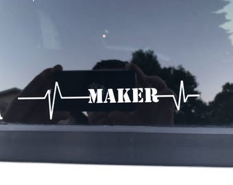 Heartbeat of a Maker Decal -White