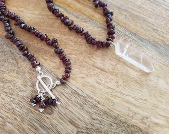 Crystal Garnet Serenity Necklace-Handmade-OOAK- Sterling Silver-Long Beaded Garnet Necklace-Clear Rock Crystal-Quartz-January-July-Vegan