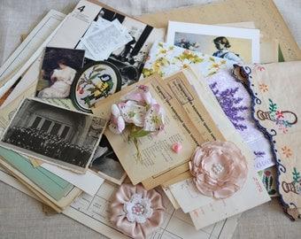 Vintage Ephemera Pack, Woman Themed Vintage Journal Making Kit