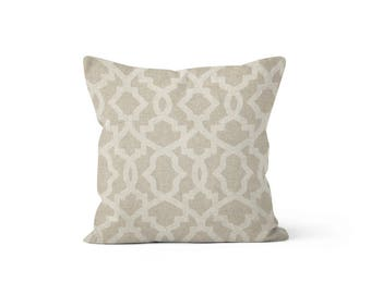 Beige Lattice Pillow Cover - Sheffield Cloud - Lumbar 12 14 16 18 20 22 24 26 Euro - Hidden Zipper Closure