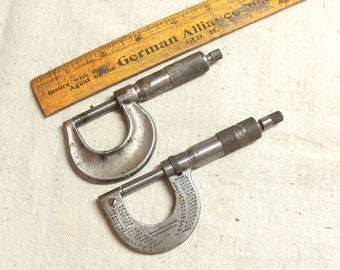 Pair Antique Micrometers, Brown & Sharpe Co. No. 8 and Central Scientific Co., Both Work Smoothly