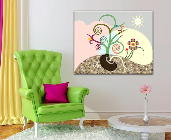 Canvas Tree Art, Inspirational Wall Art, Abstract Tree Flower Painting, Abstract Tree Wall Art, Abstract Tree Print, Tree Canvas Painting