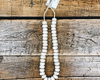 African Made Bead Necklace- Cream