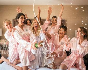BRIDESMAID ROBE - Blush Satin Robes - Blush Robes - Personalized Robes - Monogrammed Robes - Bridal Robes - Maid of Honor Robe - Kimono